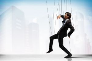 Image of businessman hanging